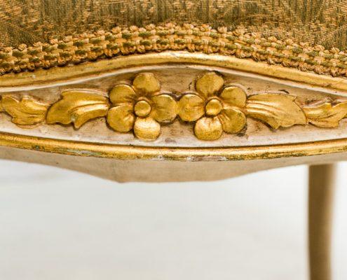 sillon butaca antiguo estilo isabelino color dorado envejecido