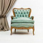 Decoración vintage de eventos en Madrid, sillón butaca romántico estilo rococo turquesa