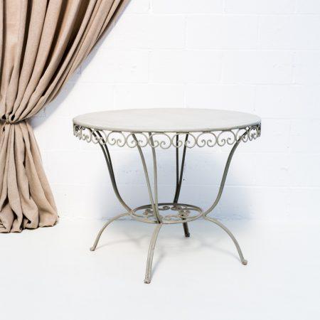 mesa de forja estilo romantico color verde elegante para jardin tablero redondo