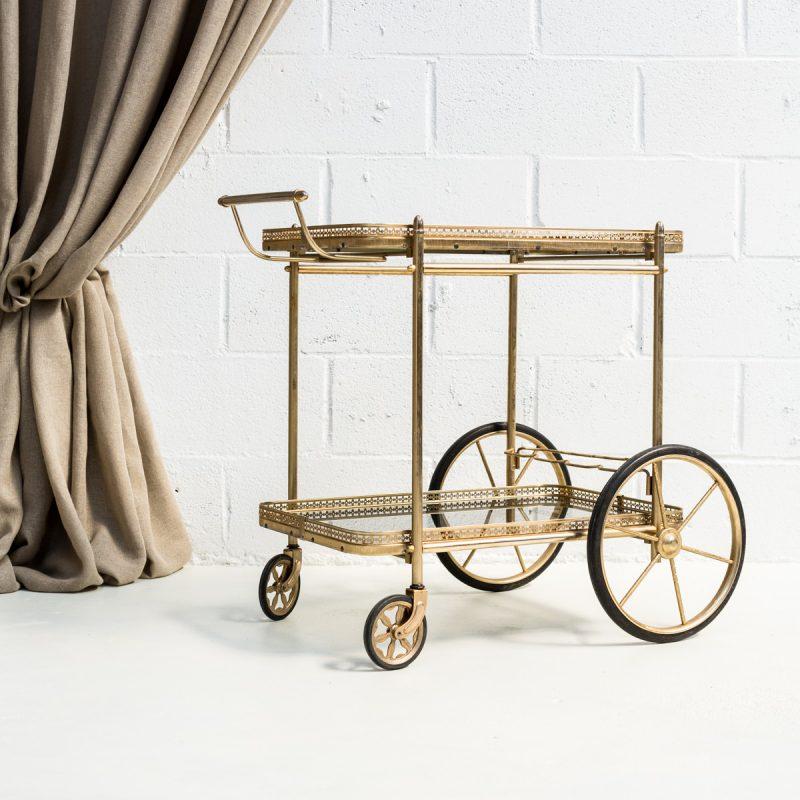 carro estilo camarera de gristal y metal dorado para champagne