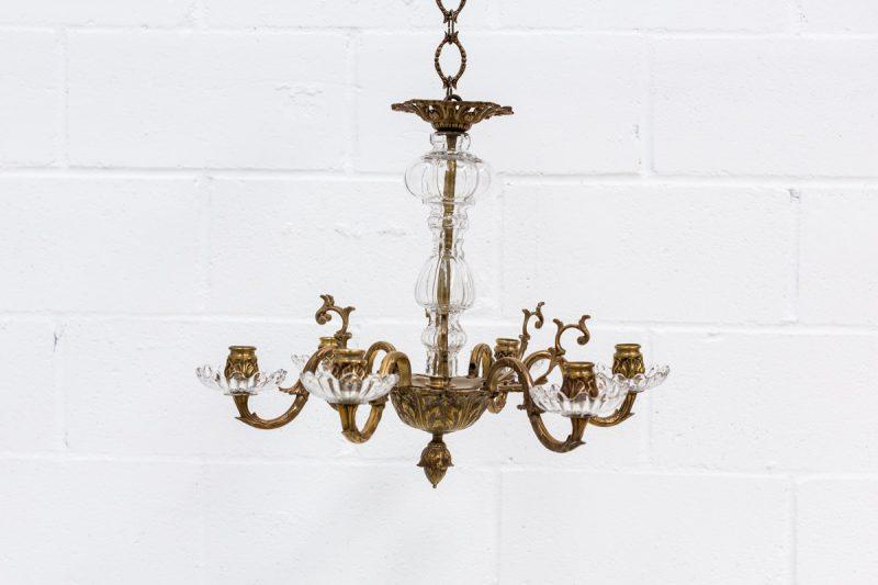 lampara vintage araña de hierro y cristales